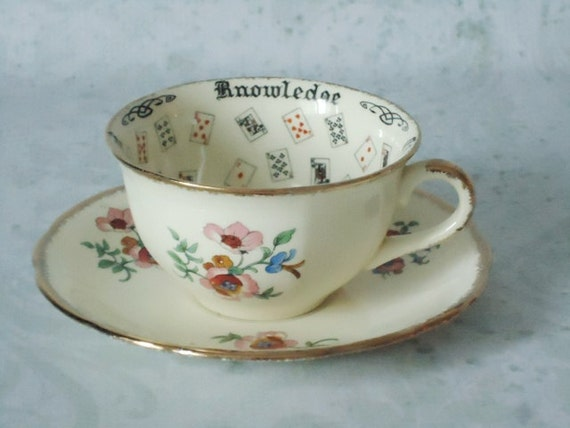 Fortune Telling Tea Cups and Saucers - Meakin Cup of Knowledge - Cups and Saucers