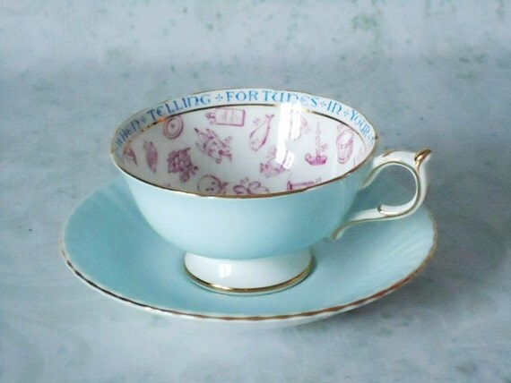 Paragon Fortune Telling Teacup and Saucer - Blue Fortune Telling Tea Cup Set - Tea Cups and Saucers