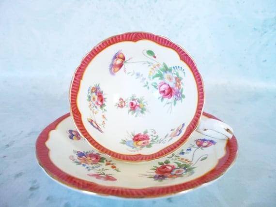 RESERVED  Vintage Tea Cup and Saucer Set - Aynsley Teacup and Saucer - Hot Pink Teacup and Saucer Set