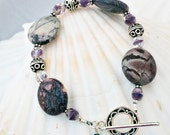 SALE - Purple and Cream Jasper Bracelet - Butterflies and Lilacs