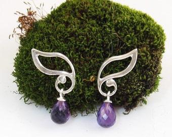 Elven Leaves earrings with amethyst