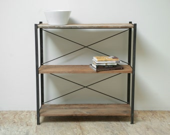 Neat 130 yr old Reclaimed Wood and Steel Bookcase