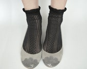The Lizzie Shoes in Gray - Limited Serie of Leather Handmade Ballet Flats - Scalloped Snakeskin Toe