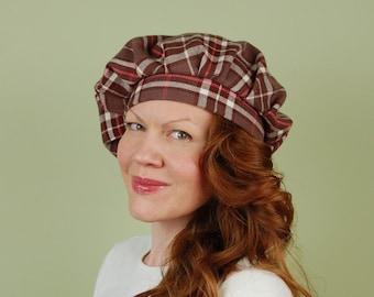 Scottish tam hat- LORNA- Latte and Pink Plaid - size M/L- cotton flannel