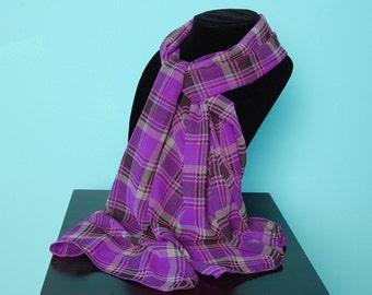 SCARF-Sheer Purple Plaid - fashion scarf 56 x 20