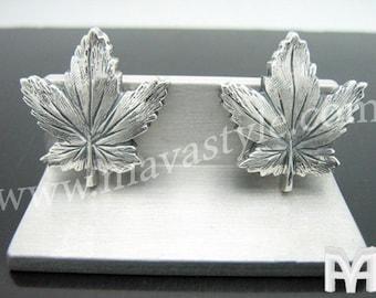 Sterling Silver Canadian Maple Leaf Cufflinks