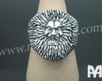 Sterling Silver Man Lion Ring