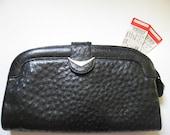 REDUCED-Rare Cape Cobra Cape Town 70s vintage ostrich snakeskin large black leather clutch purse handbag