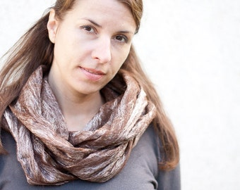 Cobwel Lace Scarf Felt Shawl Silk Baby Alpaca Coffee woodland natural brown chocolate beige eco friendly