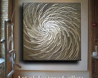 Huge Large Original Abstract Texture Modern White Beige Brown Silver Gray Floral Carved Sculpture Knife Oil Painting Je Hlobik