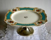 Original 1950s pretty flowers in vase with retro turquoise border cake stand