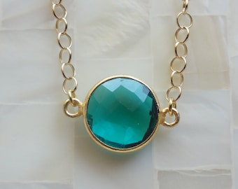 Round Step-Cut Faceted Teal Quartz Vermeil Bezel Connector Gold Chain Necklace (N1483)