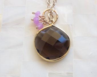 Large Step-Cut Faceted Smoky Quartz Vermeil Bezel Pendant and Bubble Gum Pink Quartz Rondelle Dangles on Gold Chain Necklace