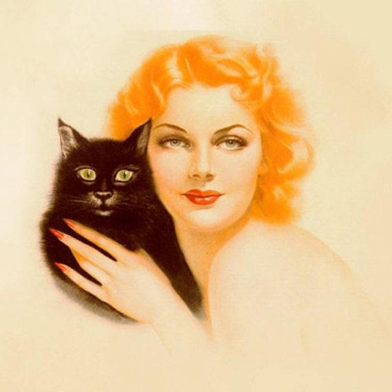 Etsy Banner Shop Banners Avatar Set - Vintage Cat and Red Head Custom Logo Professional OOAK - halloween, retro, black cat, crazy cat lady
