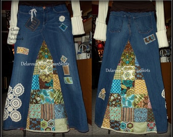 Classic Hippie patchwork Long Jean Skirt Custom Order to Your Size 0-2-4-6-8-10-12-14-16-18-20-22-24-26