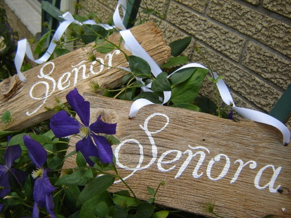 Wooden Wedding Hand Painted Senor and Senora signs