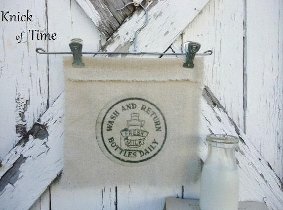 Milk Cap Print with Vintage Metal Hanger - Farmhouse Charm