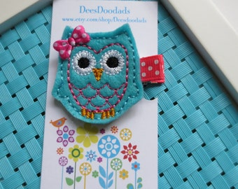 Light Turquoise and Hot Pink Owl Hair Clip