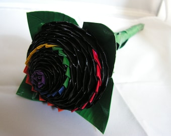 Large Rainbow Dragontail Duct Tape Rose