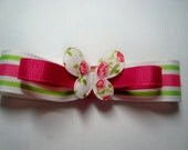 Hot Pink, Bright Green Stripes on White Girls Tuxedo Hair Bow/Hair Clip