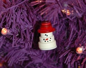 Mr. Snowman Button Christmas Tree Ornament with Red Top Hat - Proceeds Benefit Cancer Research
