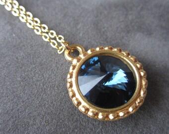 Gold Montana Sapphire Necklace, Dark Blue Necklace, Montana Sapphire Jewelry, Navy Crystal Necklace
