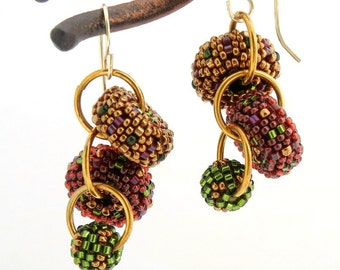 Autumn Leaves Cascade Earrings - holiday beaded beads red green gold