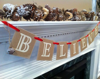 Christmas Banner BELIEVE Christmas Banner Garland  With Rusted Bells  Merry Christmas Decoration