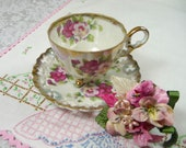 Vintage Pink Tea Cup & Saucer Lusterware with Vintage Embroidered Hankie and Pansy Brooch Corsage Pin Gift Set