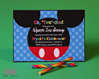 Mickey Mouse Invitation - Printed or  Printable Mickey Invitation by 505 Design, Inc
