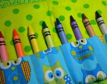 OWLS ON BLUE - Travel Crayon Wallet Roll - Wristlet