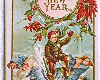 New Years Antique Postcard Father Time New Years Baby 1908 Paper Ephemera