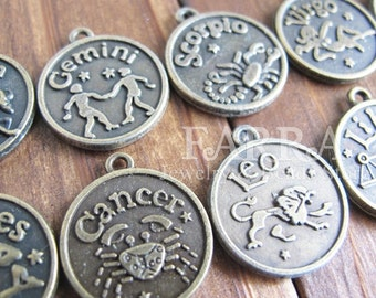 Brass constellation beads, Gemini, Scorpio,  Cancer, Leo pattern, 4 pieces kit