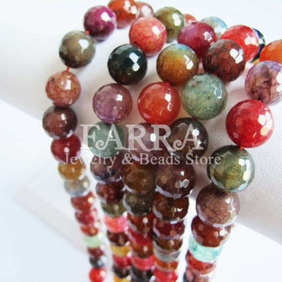 Candy natural agate beads, 33PCs 12mm facted round agate beads, 90g 15inch necklace agate gemstone beads