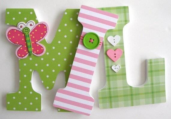 How To Decorate Wooden Letters For Nursery: Baby Wooden Nursery Letters Green And Pink Butterfly Theme