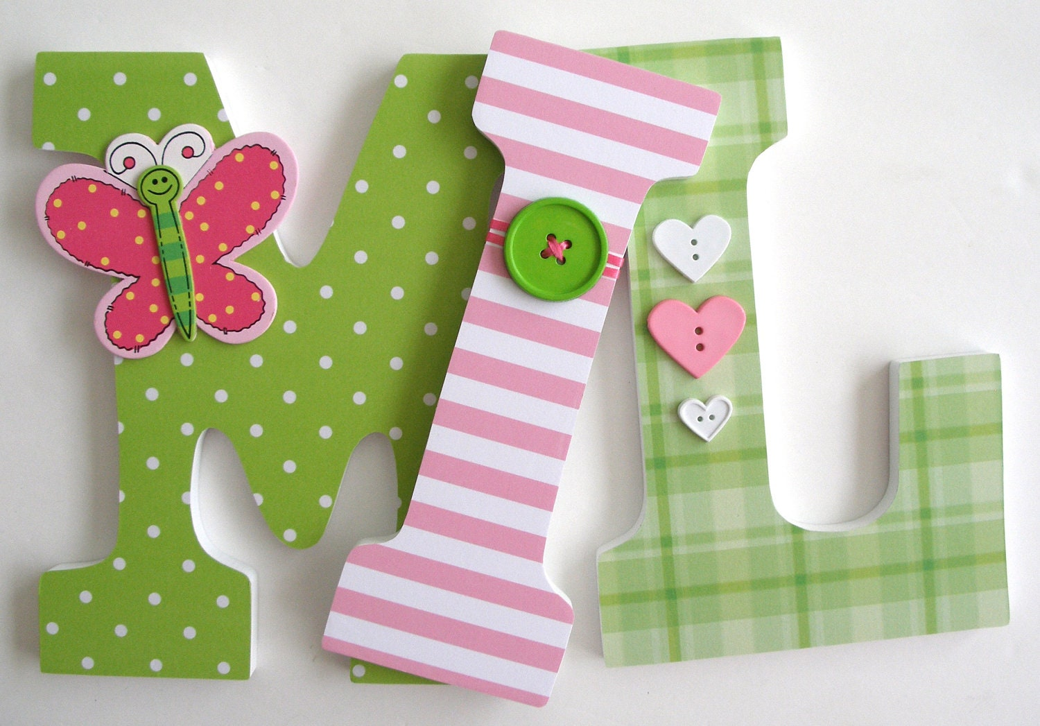 Baby Wooden Nursery Letters Green And Pink Butterfly Theme