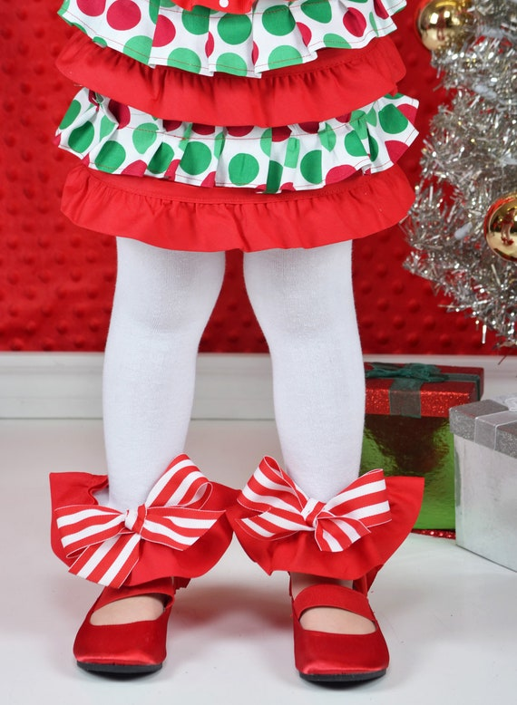 Red & White Candy Cane Christmas Ruffle Leg Warmers - Baby Legs- Ruffle Leg warmers-