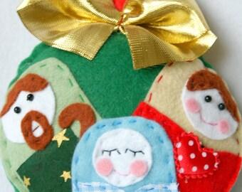 Handmade Tree Felt Nativity - Christmas Decor - Ornaments