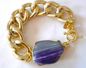 Chunky Gold Chain Link Bracelet with Bright Purple & White Agate