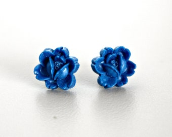Flower Earrings, Blueberry Blue Resin Rosettes with Hypoallergenic Titanium Posts/Studs