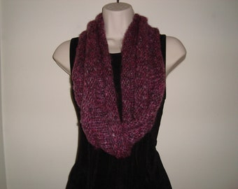 Hand Knit -Chunky- Extra Long Infinity Möbius Scarf, Plum Color, ultra soft, gifts for her