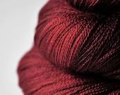 Dark red roses OOAK - Merino/Silk/Cashmere Yarn Fine Lace weight