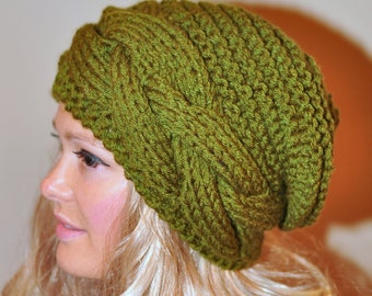 Slouchy Hat Slouchy Beanie Cable Hand Knit Winter  Women Teen CHOOSE COLOR  Olive Green Forest Autumn Fall Chunky Gift under 50