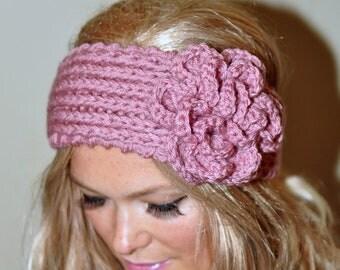 Crochet headband Earwarmer Headwrap Ear warmer Crochet Knit CHOOSE COLOR Dusty Rose Pink Petal Boho Warm Flower Hat Cozy Valentines Day Gift