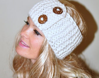 Earwarmer Buttons Winter WOOL Crochet Headband Chunky Ear warmer CHOOSE COLOR  Cloud Vanilla Ivory Warm Hair Band Button Gift under 50