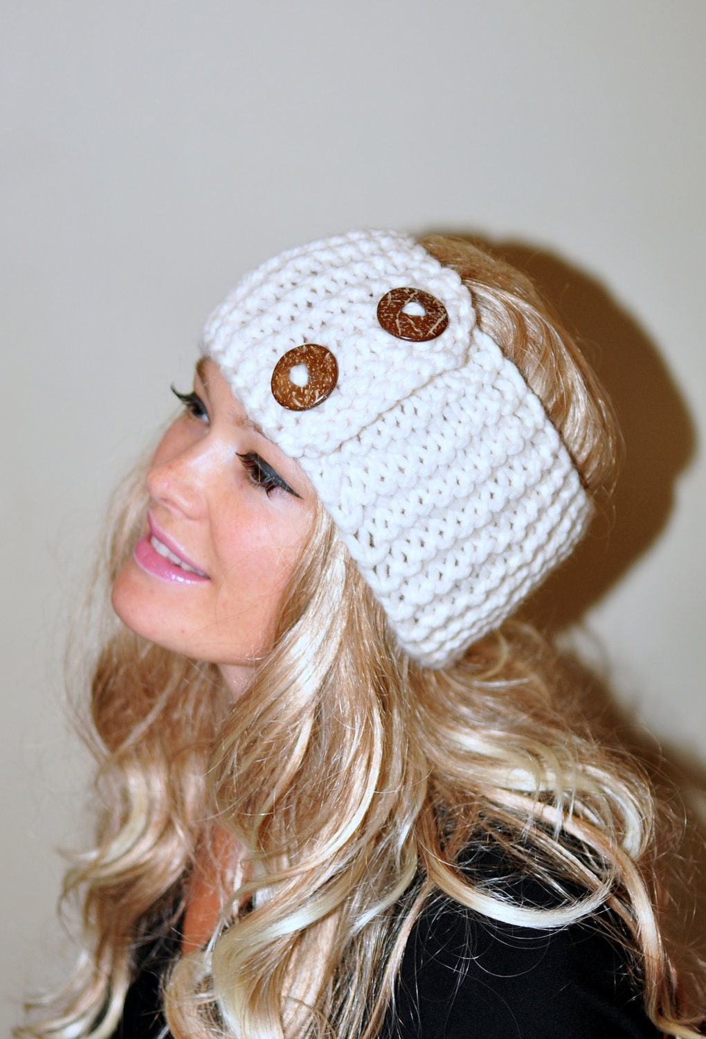 Knit Headband Pattern With Button : Earwarmer Buttons Winter WOOL Crochet Headband Chunky Ear