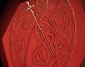 Red Celtic Dragon Leather Dice Tray