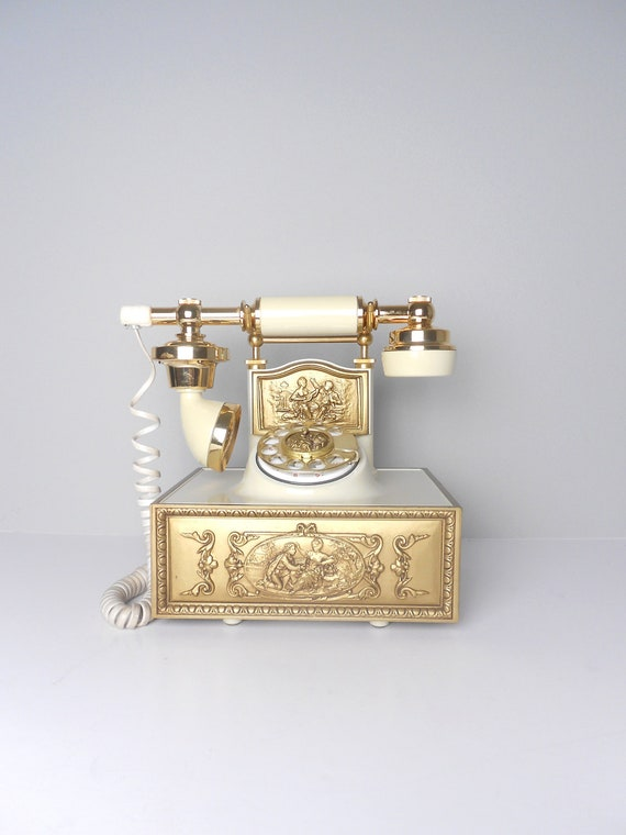 Large Classic Golden French Style Rotary Telephone