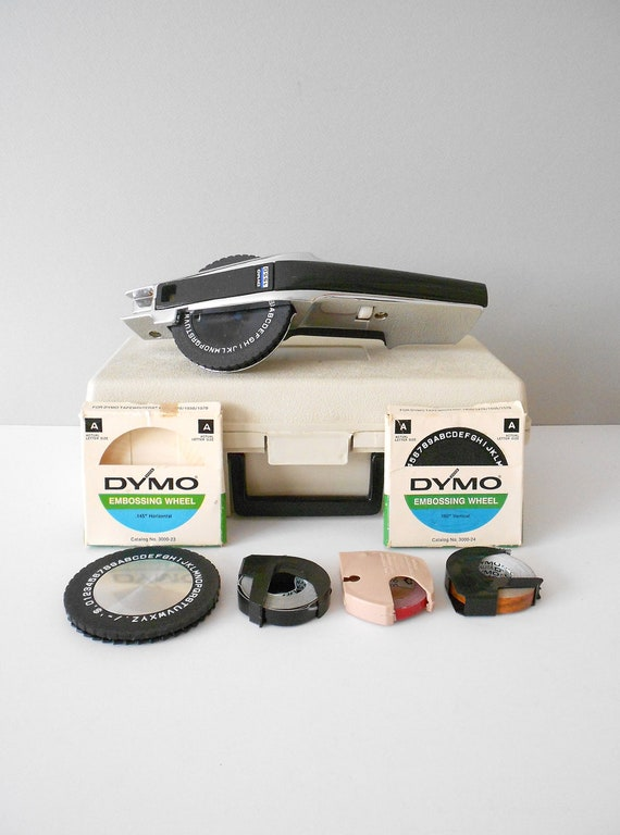 Office Label Maker // Dymo Model 1550 Deluxe Tapewriter Kit // Silver and Black