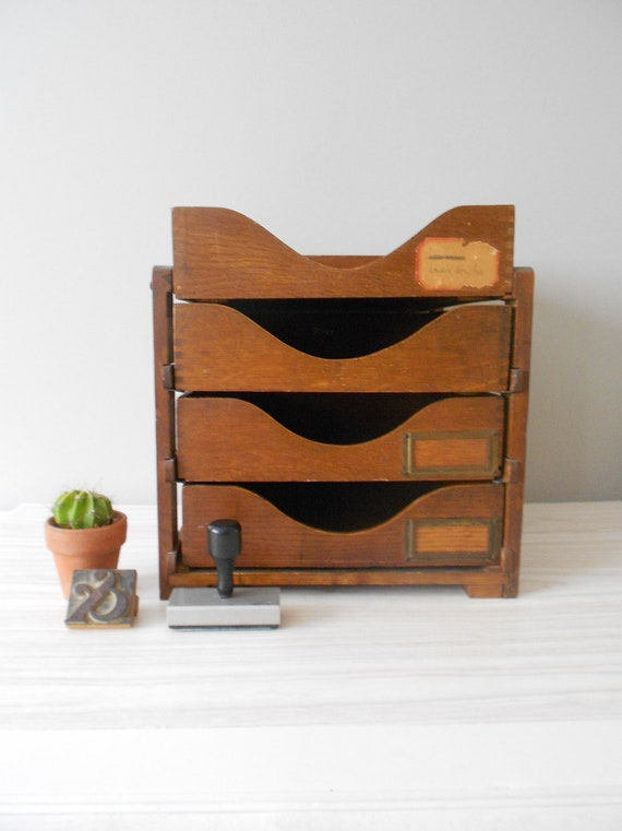 antique globe office in & out file cabinet // set of 4 wood trays